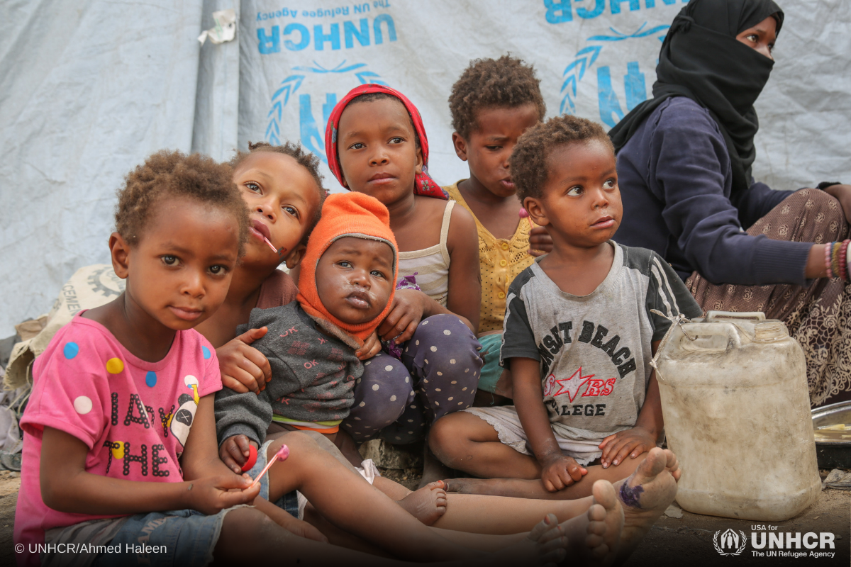 Displaced Yemeni children in one of the hosting sites in Sana'a, Yemen.